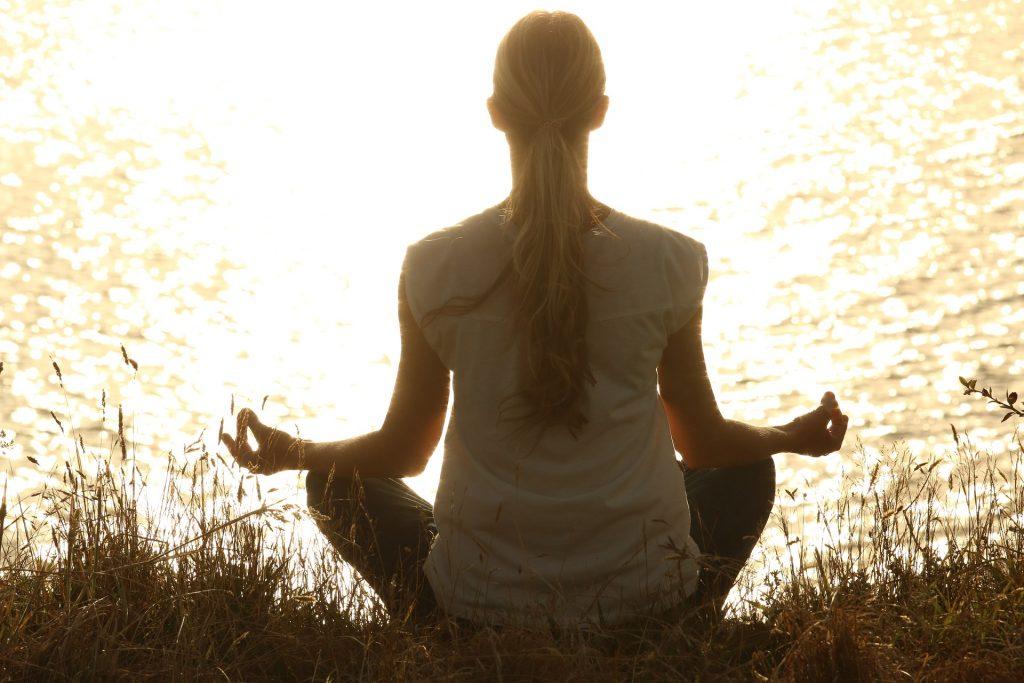woman doing raja yoga